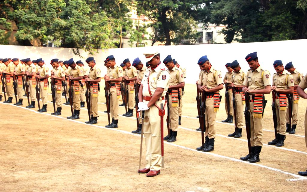 Policemen during Police Commemoration Day Parade in Mumbai, on Oct 21, 2015.
