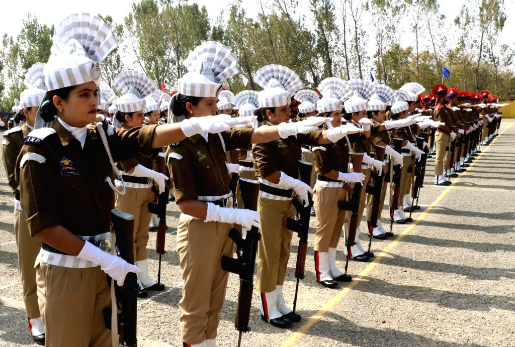 Policewomen during Police Commemoration Day parade at Armed Police Headquarters in Srinagar on Oct 21, 2016.