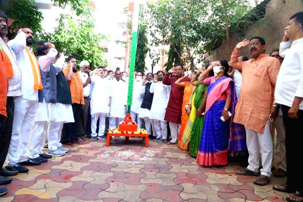 Political parties celebrate Telangana Merger Day.