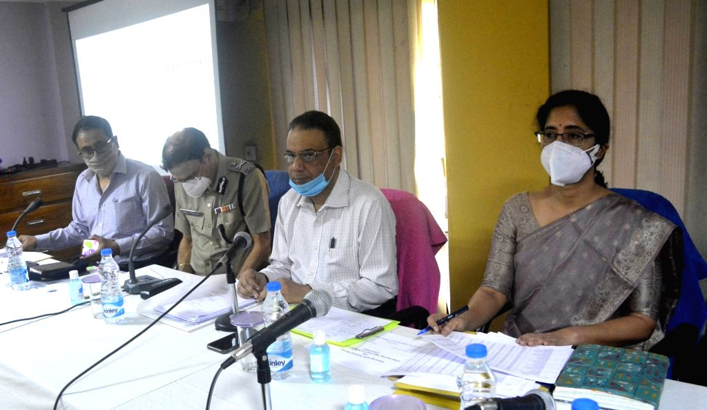 Political party leaders during State Elections commissioner call all party meetings due to the coved-19 pandemic at Bedi Bhavan in Kolkata On Friday, 16th April,2021.