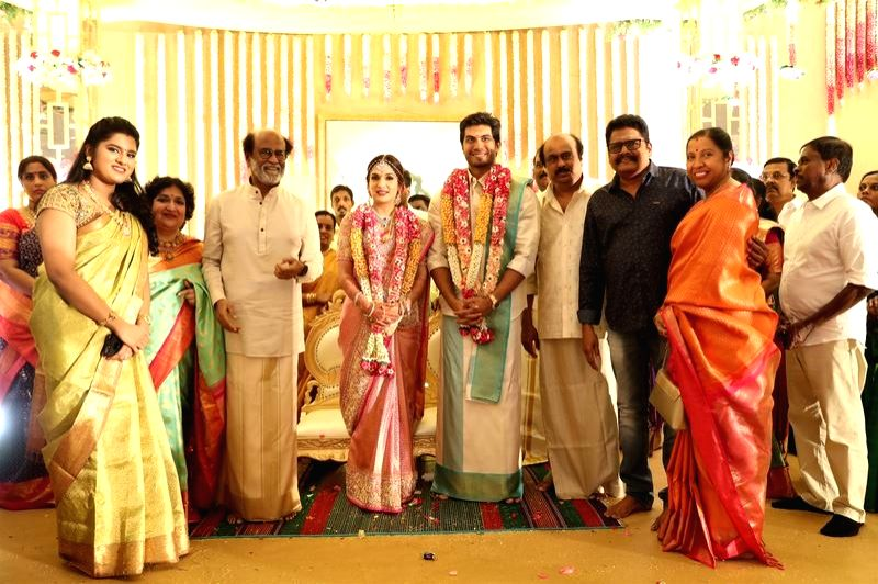 Politician Vaiyapuri Gopalsamy at the wedding of actor Rajinikanth's daughter Soundarya and Vishagan Vanangamudi in Chennai on Feb 10, 2019. - Rajinikant