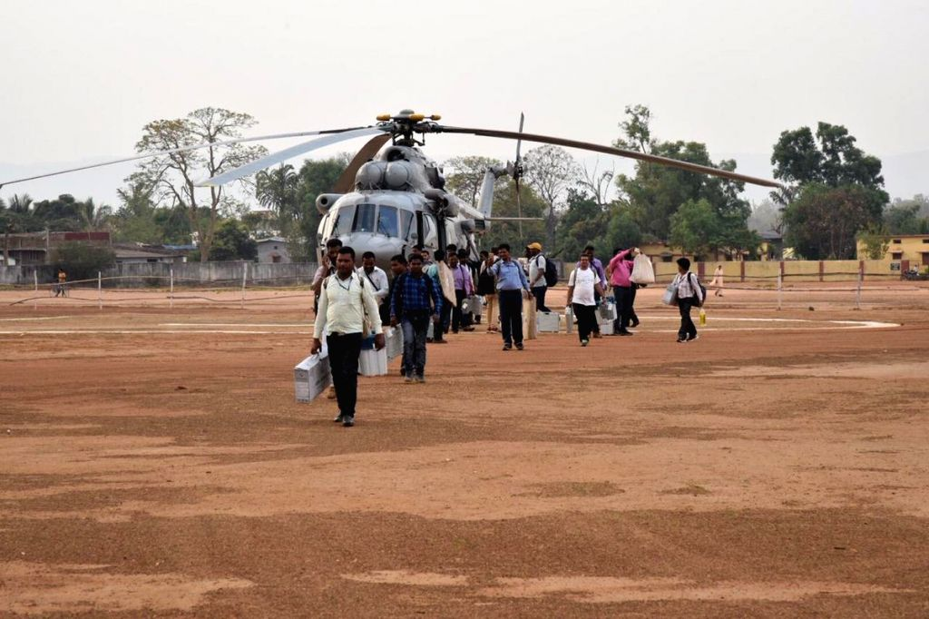 Polling officials return from Orchha to their headquarters in Narayanpur, Chhattisgarh after polling for the first phase of 2019 Lok Sabha elections got over, on April 11, 2019.