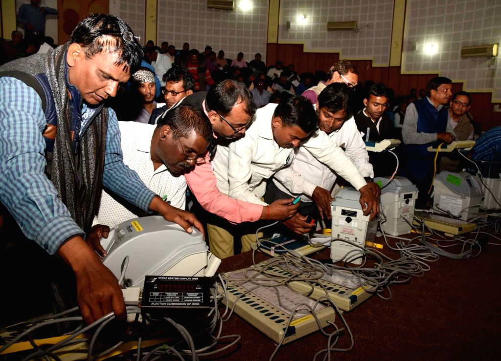 Polling personnel being imparted training to handle EVMs and VVPAT in Patna on March 7, 2019.