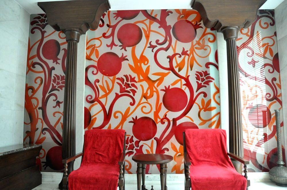 Pomogranate motives dominate the interiors at Kaya Kalp Spa at ITC Mughal Agra.