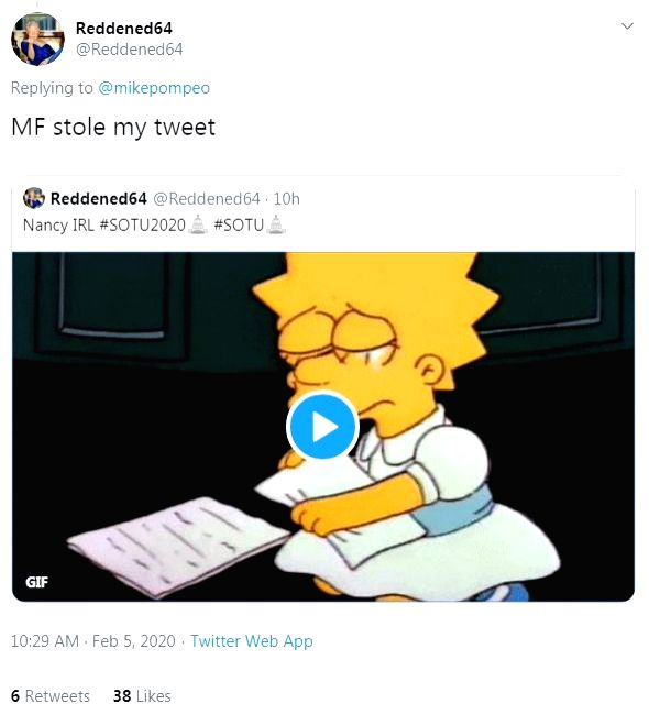 Pompeo tried to mock Pelosi's with a 'Simpsons' meme, Twitter abuzz.