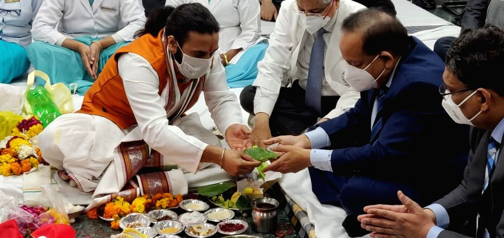 Pooja ceremony at the inauguration function of AIIMS's burn and plastic surgery block.