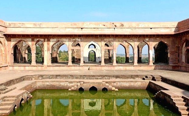 Pool inside Baz Bahadur's Palace.