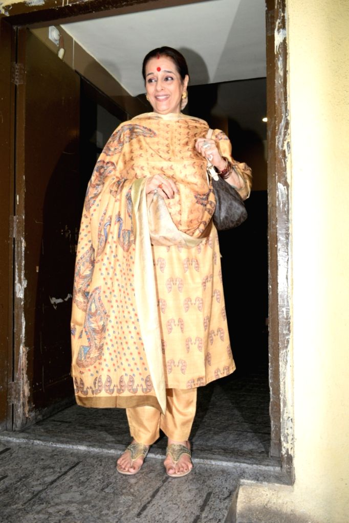 "Poonam Sinha, mother of actress Sonakshi Sinha at the screening of upcoming film ""Kalank"" in Mumbai, on April 14, 2019. - Sonakshi Sinha and Poonam Sinha"