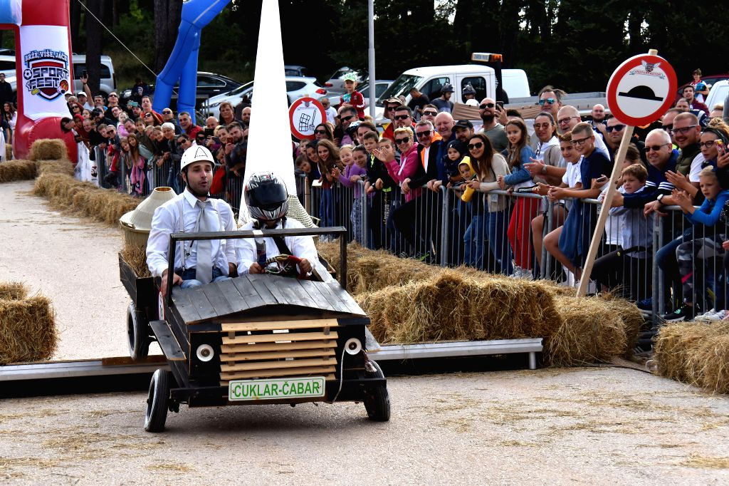 POREC, Oct. 7, 2019 - Competitors drive a homemade vehicle without an engine during the Red Bull Soapbox Race in Porec, Croatia, Oct. 6, 2019.