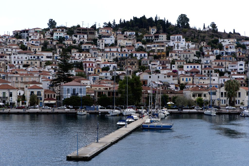Poros (Greece), Aug. 7, 2020 Photo taken on Aug. 7, 2020 shows the general view of Poros island, south of Athens, Greece. A continuing surge in the number of confirmed coronavirus ...