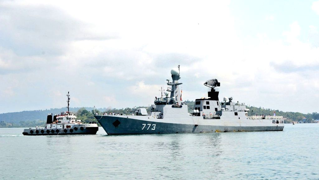 Port Blair: Myanmar Navy ships UMS King TabinShweHtee (773) and UMS Inlay (OPV-54) arrive for the ???Opening Ceremony??? of the 8th Indo-Myanmar coordinated patrol (IMCOR) at Andaman and Nicobar ...