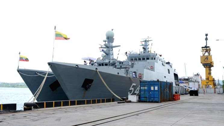 Port Blair: Myanmar Navy ships UMS King TabinShweHtee (773) and UMS Inlay (OPV-54) reach Port Blair for the 'Opening Ceremony' of the 8th Indo-Myanmar coordinated patrol (IMCOR) at Andaman and ...