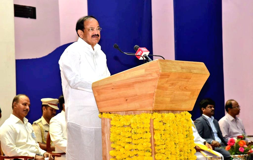 Port Blair: Vice President M. Venkaiah Naidu interacts with scholars and students at Dr. B.R. Ambedkar Institute of Technology in Port Blair, Andaman and Nicobar Islands on July 5, 2018. - M. Venkaiah Naidu