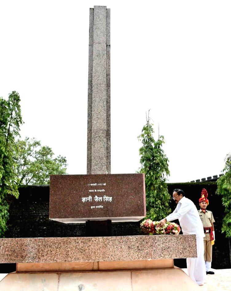 Port Blair: Vice President M. Venkaiah Naidu lays wreath at Martyrs' column at the National Memorial during his visit to the Cellular Jail in Port Blair, Andaman and Nicobar Islands on July 5, 2018. - M. Venkaiah Naidu
