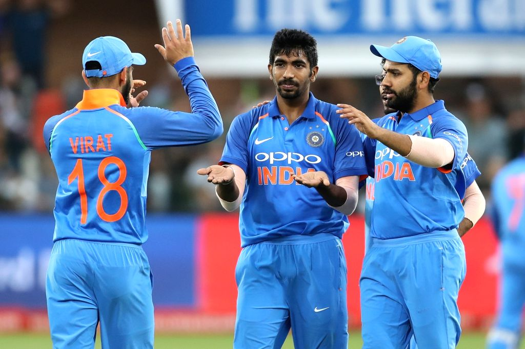 Port Elizabeth: Jasprit Bumra of India celebrates fall of Aiden Markram's wicket during the 5th ODI between India and South Africa at the St George's Park Cricket Ground in Port Elizabeth, South ...