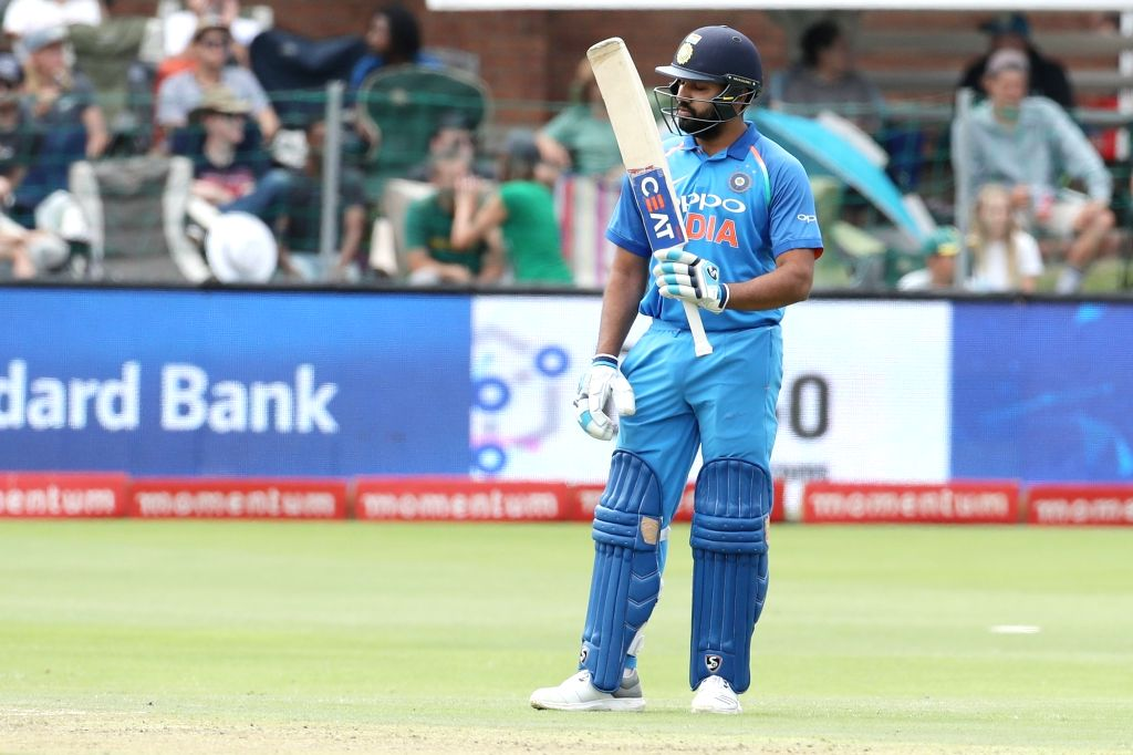 Port Elizabeth: Rohit Sharma of India celebrates his half century during the 5th ODI between India and South Africa at the St George's Park Cricket Ground in Port Elizabeth, South Africa on Feb 13, ... - Rohit Sharma