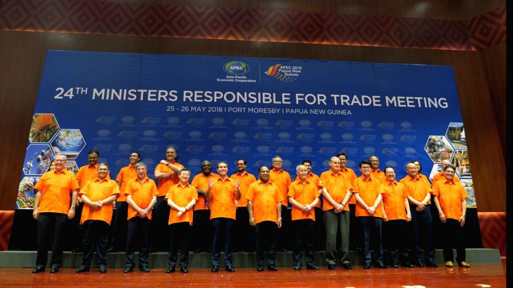 PORT MORESBY, May 25, 2018 - Delegates pose for a family photo during the 24th APEC Ministers Responsible for Trade Meeting at International Convention Center of Port Moresby, Papua New Guinea (PNG), ... - Responsible