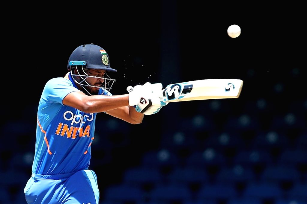 Port of Spain: India's Shreyas Iyer in action during the 2nd ODI match between India and West Indies at Queen's Park Oval in Port of Spain, Trinidad on Aug 11, 2019.
