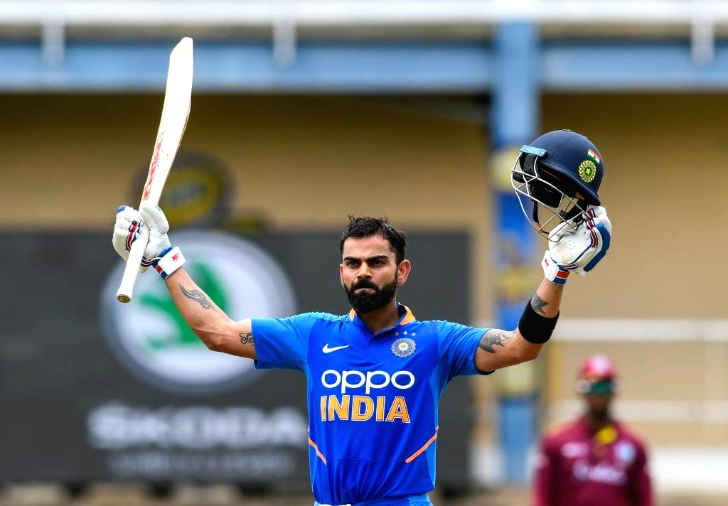 Port of Spain: Indian skipper Virat Kohli celebrates his century during the 2nd ODI match between India and West Indies at Queen's Park Oval in Port of Spain, Trinidad on Aug 11, 2019. (Photo: Twitter/ICC) - Virat Kohli
