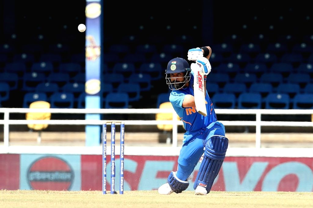 Port of Spain: Indian skipper Virat Kohli in action during the 2nd ODI match between India and West Indies at Queen's Park Oval in Port of Spain, Trinidad on Aug 11, 2019. - Virat Kohli