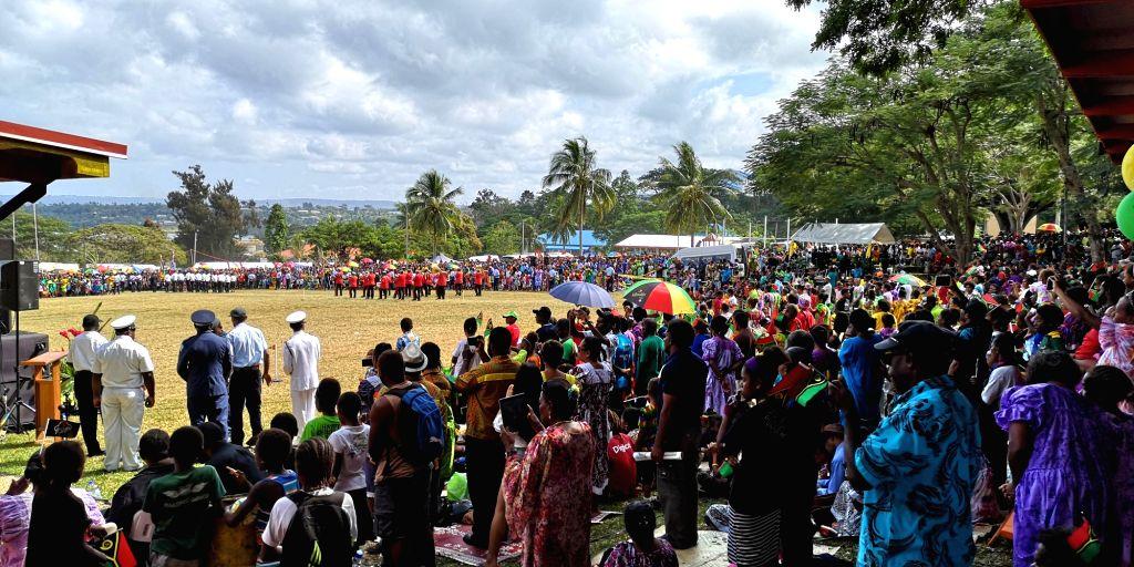 PORT VILA, July 30, 2018 - People watch the Independence day celebration in Port Vila, Vanuatu, July 30, 2018.