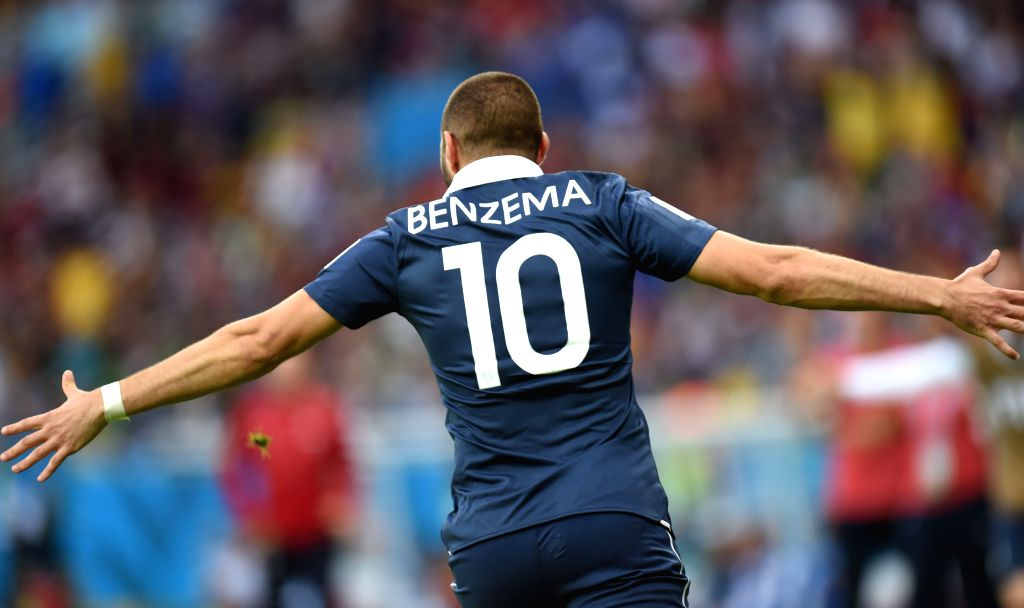 Frances's Karim Benzema celebrates the goal during a Group E match between France and Honduras of 2014 FIFA World Cup at the Estadio Beira-Rio Stadium in Porto