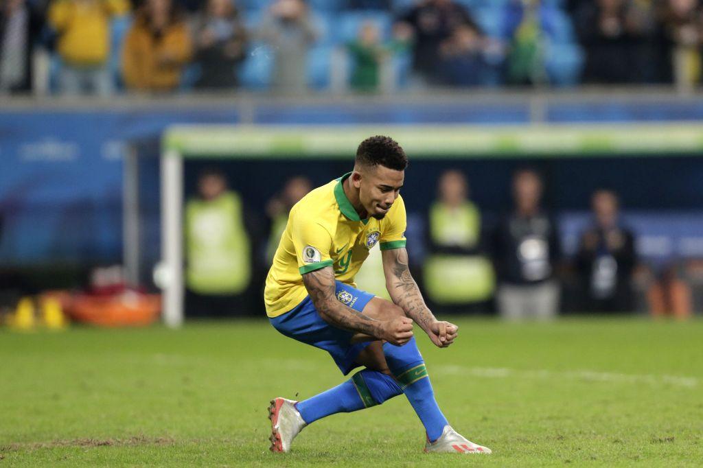 PORTO ALEGRE, June 28, 2019 (Xinhua) -- Brazil's Gabriel Jesus celebrates after scoring during the Copa America 2019 quarterfinal match between Brazil and Paraguay in Porto Alegre, Brazil, on June 27, 2019. Brazil won 4-3 in penalty shoot-out. (Xinhu