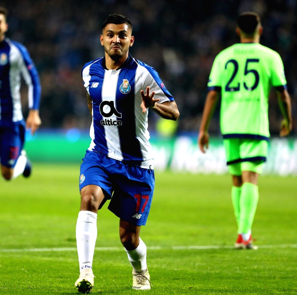 PORTO, Nov. 29, 2018 - Jesus Corona (L) of Porto celebrates scoring during the UEFA Champions League Group D soccer match between FC Porto and Schalke 04 at Dragon Stadium in Porto, Portugal, on Nov. ...