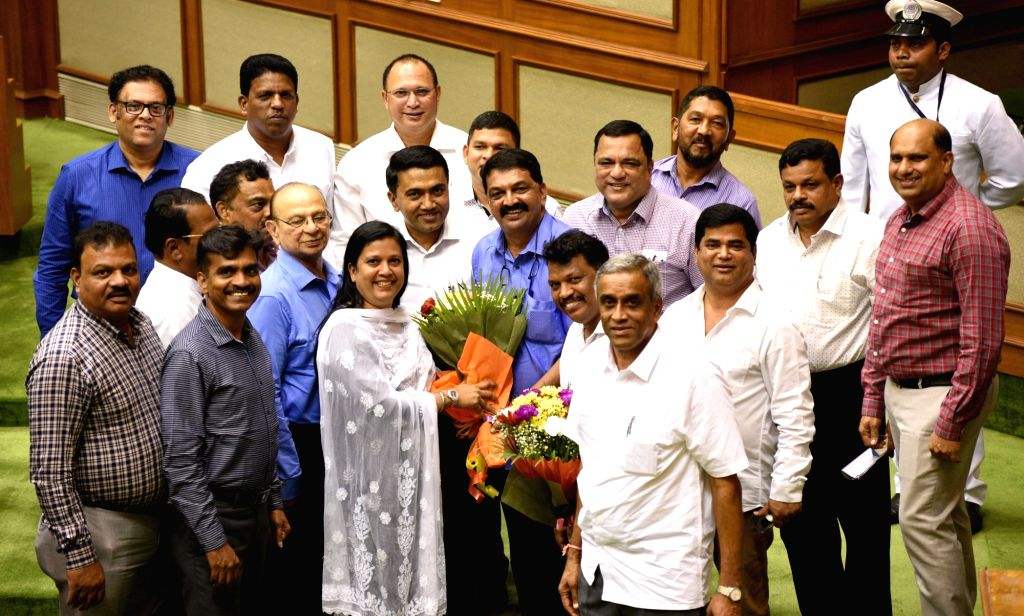 Porvorim: BJP MLA Rajesh Patnekar who was elected as Speaker of the Goa Assembly, defeating former Chief Minister Pratapsingh Rane of the Congress by 22-16 votes, with Goa Chief Minister Pramod Sawant, Deputy Speaker Michael Lobo and opposition leade - Pratapsingh Rane