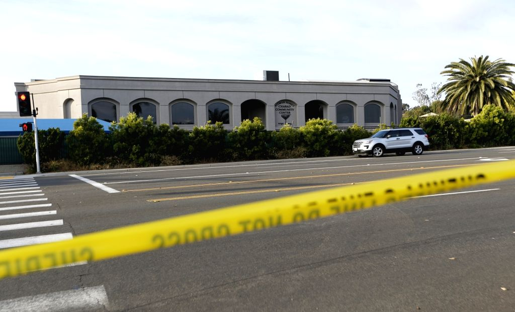 POWAY, April 28, 2019 - A police tape is seen near the synagogue where a shooting took place in Poway, California of the United States, April 27, 2019. The suspect of Saturday's synagogue shooting in ...