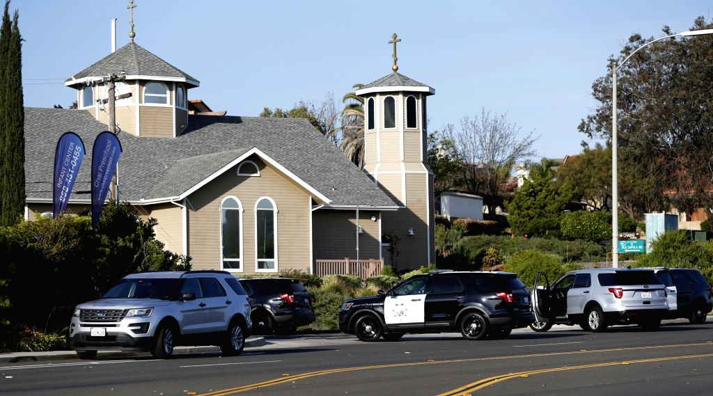 POWAY, April 28, 2019 - Police vehicles gather around the synagogue where a shooting took place in Poway, California of the United States, April 27, 2019. The suspect of Saturday's synagogue shooting ...