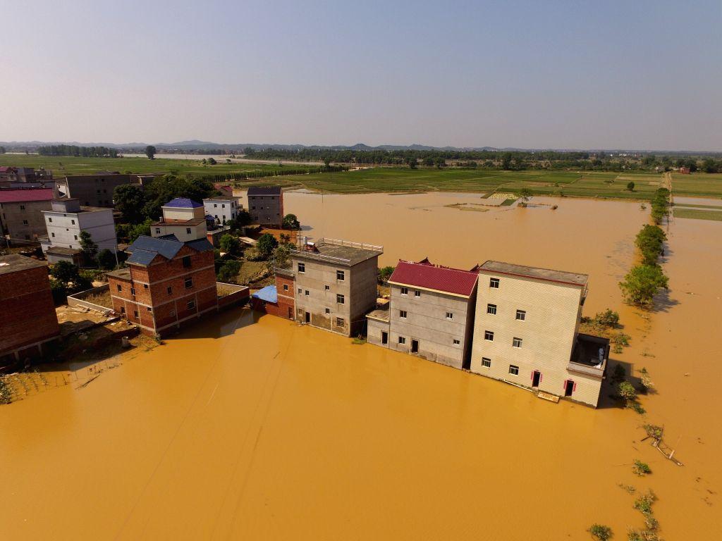 POYANG, June 23, 2016 - An aerial photo taken on June 23, 2016 shows waterlog in Zhangjialing Village of Guxiandu Township in Poyang County, east China's Jiangxi Province. After days of heavy rain ...