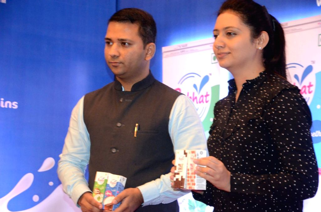Prabhat Dairy Joint Managing Director Vivek Nirmal and CEO Nidhi Nirmal during a product launch programme, in Mumbai on May 21, 2018.