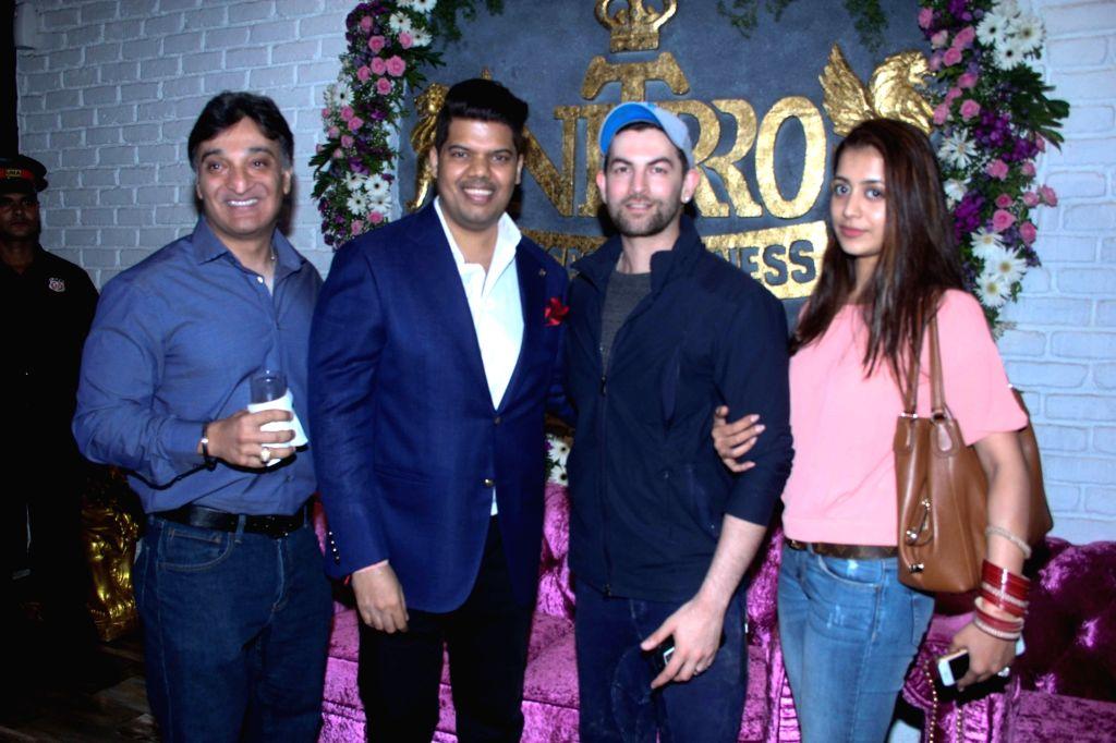 Praboddh Davkharey, MD, Nittro Gym with bollywood actor Neil Nitin Mukesh and Rukmini Sahay during his birthday party celebrations, in Mumbai, on May 29, 2017. - Neil Nitin Mukesh