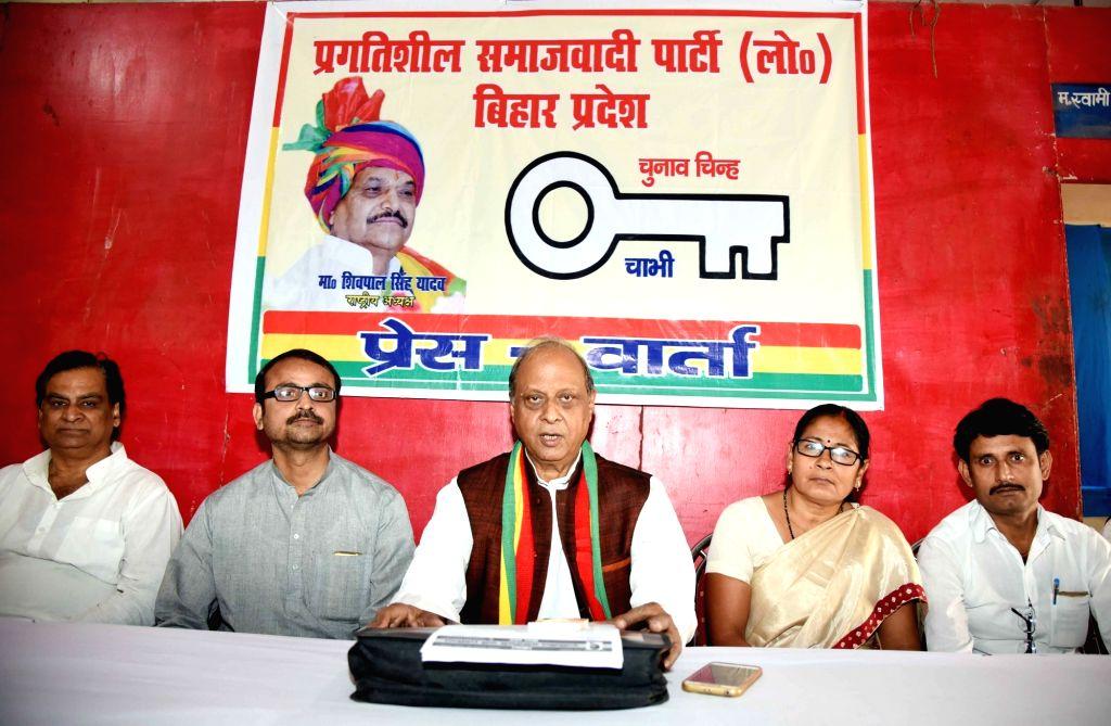 Pragatisheel Samajwadi Party leader Siddhnath Rai addresses a press conference in Patna, on March 13, 2019. - Siddhnath Rai