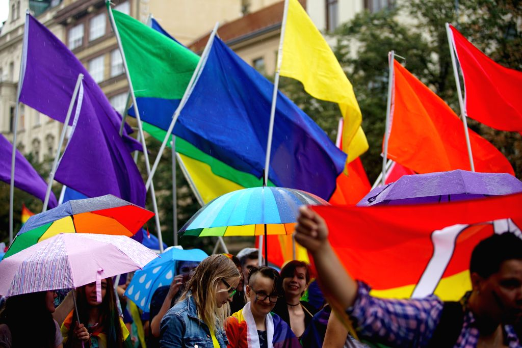 PRAGUE, Aug. 10, 2019 (Xinhua) -- People participate in the Pride Parade in Prague, capital of the Czech Republic, on Aug. 10, 2019. Hundreds of thousands of participants took part in this annual event in Prague on Saturday. (Photo by Dana Kesnerova/