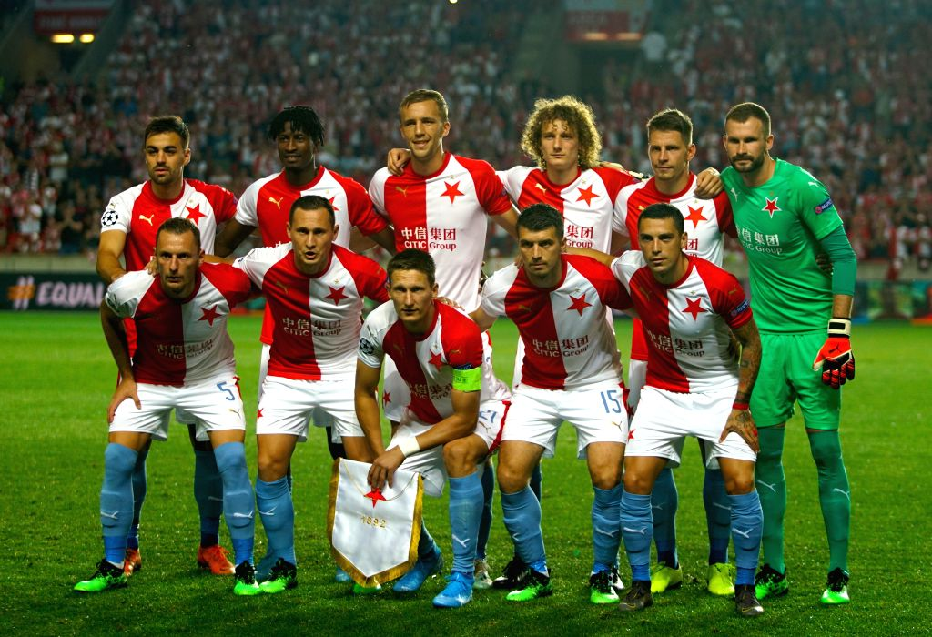PRAGUE, Aug. 29, 2019 - Starting players of Slavia Prague pose for group photos before the 2nd leg match between Slavia Prague and Romanian Cluj at the UEFA Champions League play-offs, in Prague, the ...