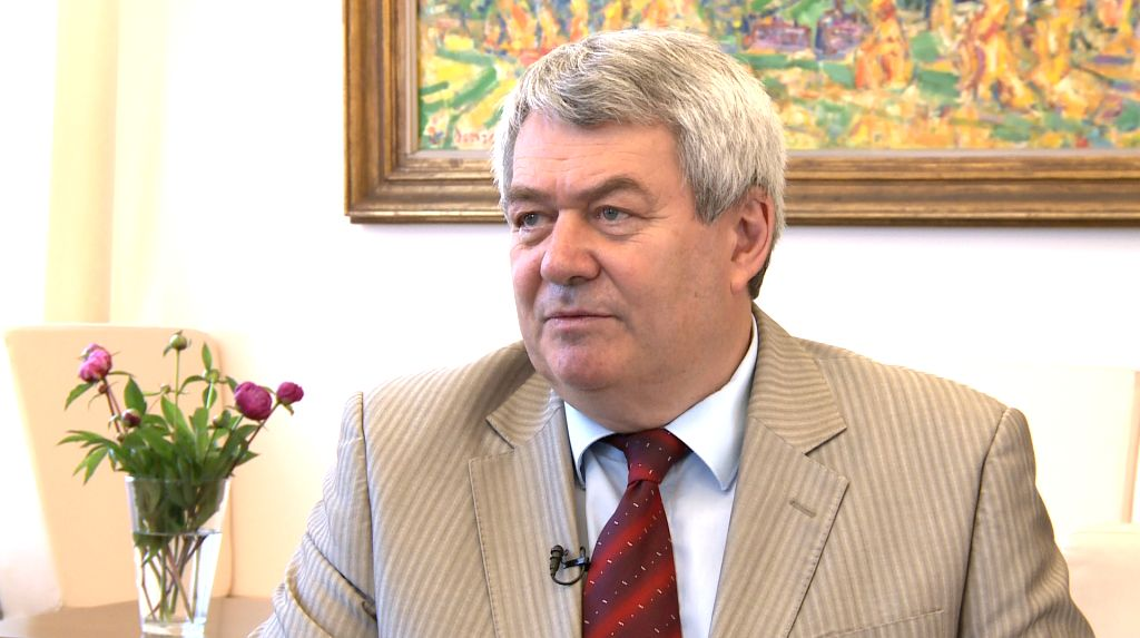 PRAGUE, June 12, 2019 - Vojtech Filip, deputy speaker of the Chamber of Deputies of the Czech Republic, speaks during an interview with Xinhua in Prague, the Czech Republic, June 6, 2019. The ...