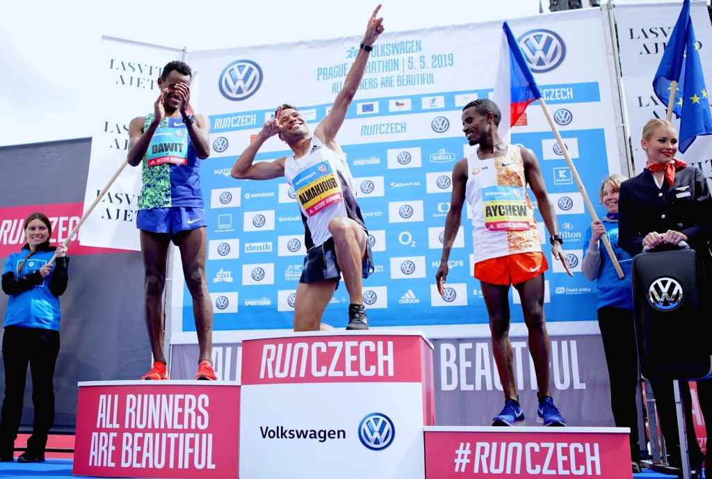 PRAGUE, May 6, 2019 - Gold medalist Almahjoub Dazza (C) of Bahrain, silver medalist Dawit Wolde (L) of Ethiopia and bronze medalist Aychew Bantie of Ethiopia celebrate at the awarding ceremony of ...