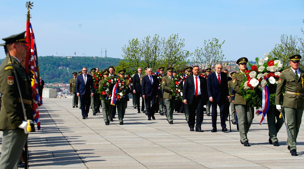 PRAGUE, May 8, 2019 - Czech President Milos Zeman and other senior officials attend a ceremony to commemorate the 74th anniversary of the end of World War II in Europe in Prague, the Czech Republic, ... - Andrej Babis