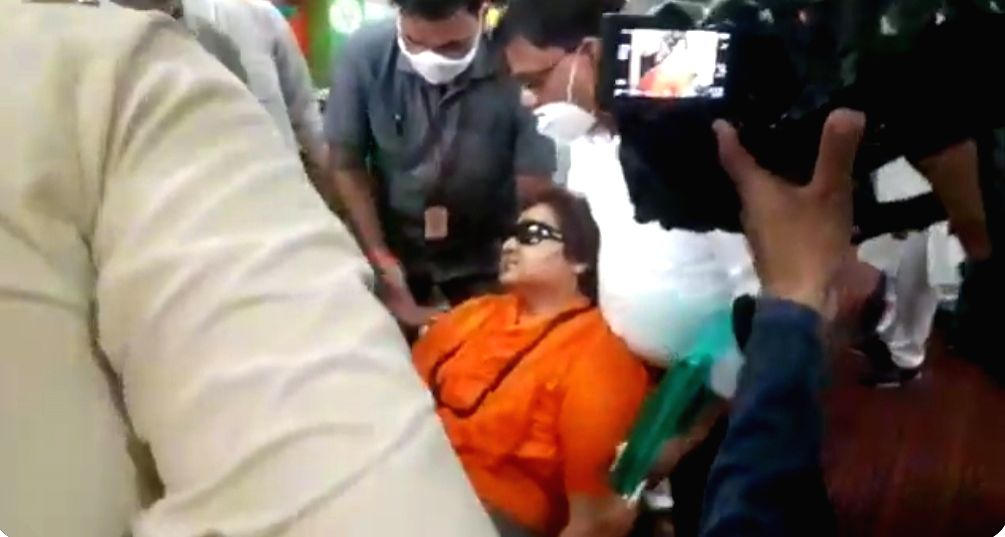 Pragya Thakur collapses at Bhopal's BJP office.