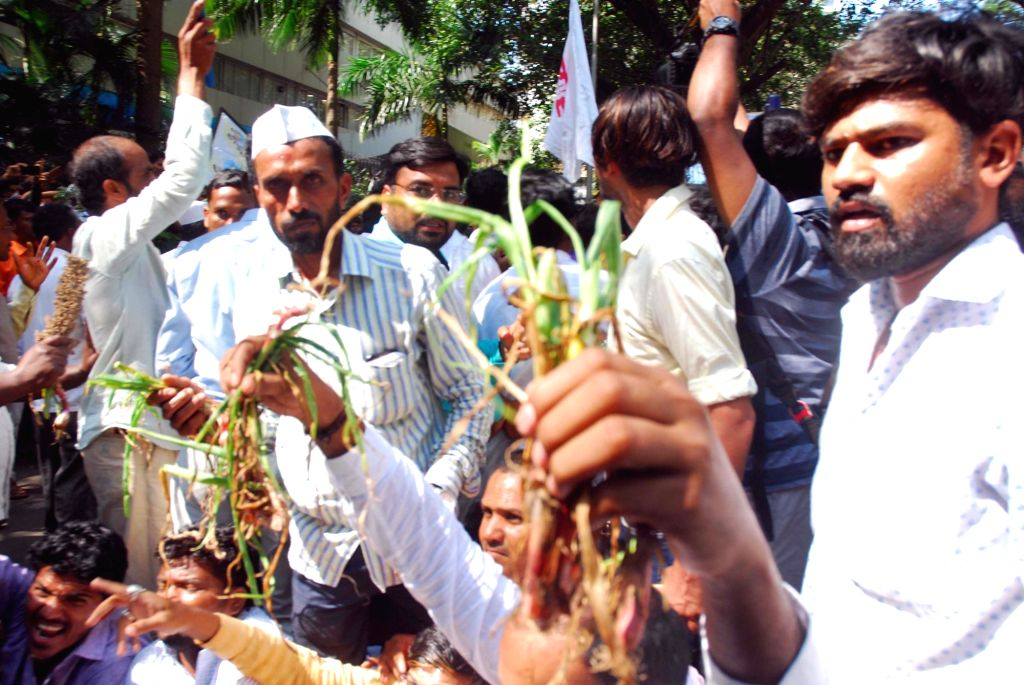 Prahar Janshakti Party workers led by party chief Omprakash Babarao Kadu stage a demonstration against crop loss and demand compensation for farmers in Maharashtra, in Mumbai on Nov 14, 2019.