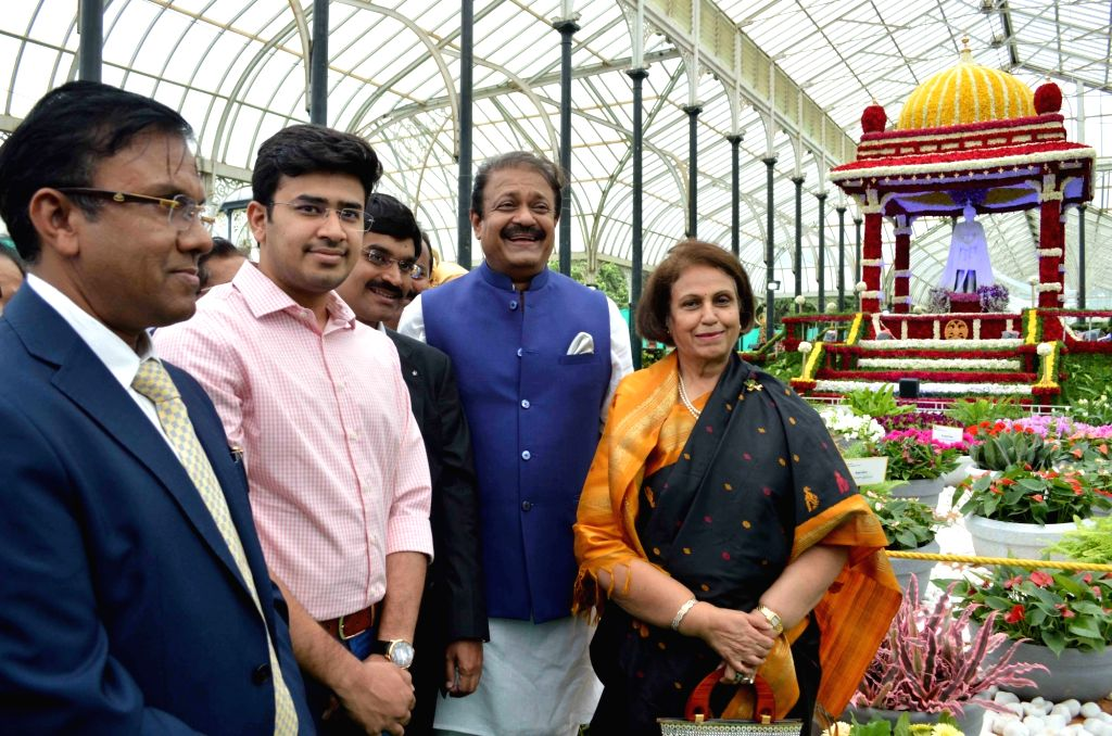 Pramoda Devi Wadiyar of Mysore Royal Family with MP Tejasvi Surya and MLA Uday Garudachar at the inauguration of Annual Flower Show that will be a part of Independence Day celebrations, at ...