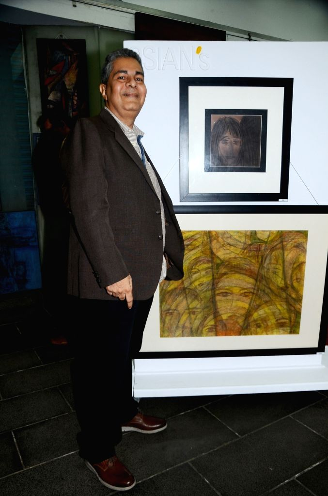 Pravesh Sippy during the opening preview of The Osian Group`s The Greatest Indian Show on Earth 2, in Mumbai on June 16, 2017.