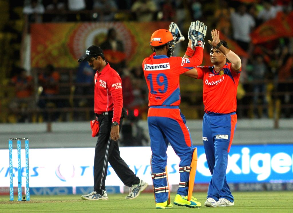 Pravin Tambe of Gujarat Lions celebrates fall of a wicket during an IPL match between Rising Pune Supergiants and Gujarat Lions at Saurashtra Cricket Association Stadium in Rajkot on April ...