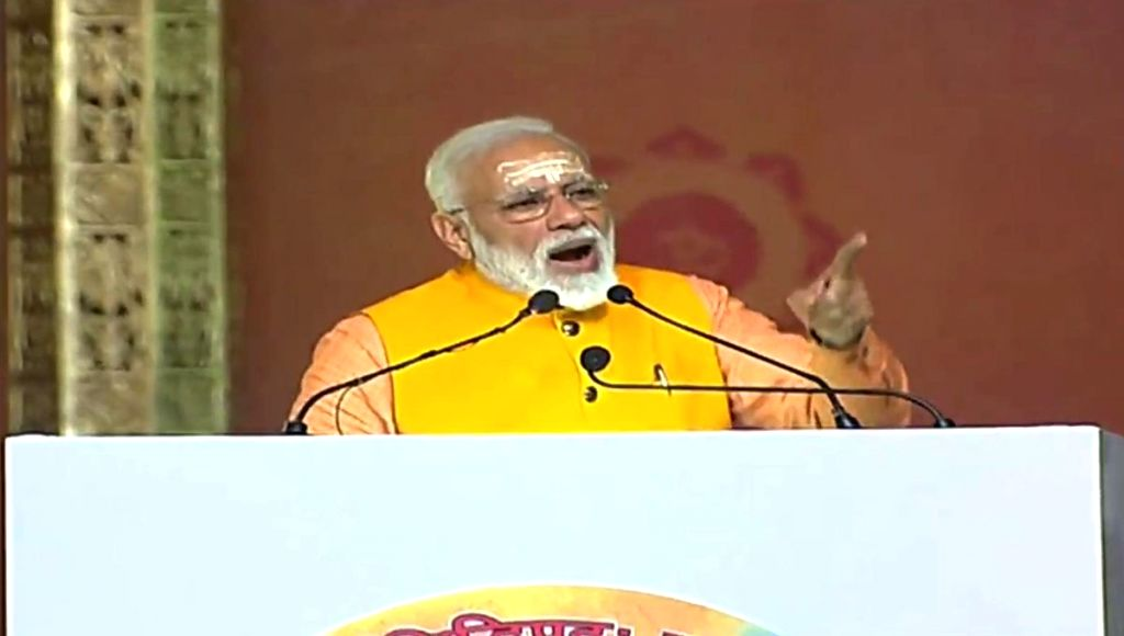 Prayagraj: Prime Minister Narendra Modi addresses at the 'Swachh Kumbh Swachh Aabhaar' programme in Prayagraj, on Feb 24, 2019. (Photo: IANS) - Narendra Modi