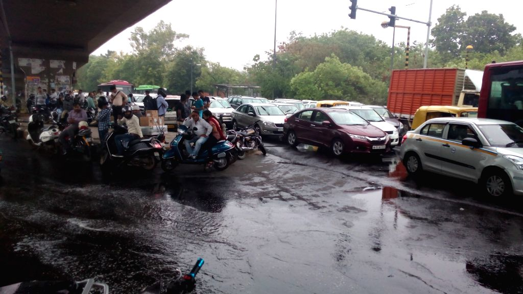 Pre monsoon showers causes traffic jam in New Delhi, on May 31, 2017.