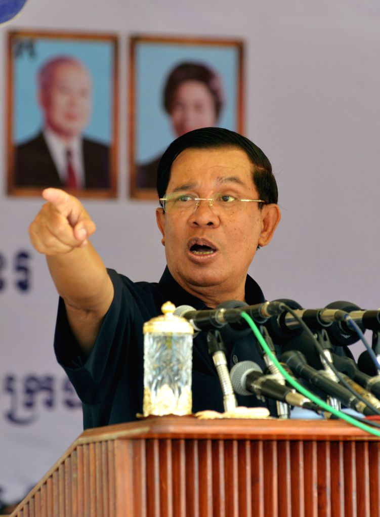 PREAH VIHEAR, April 19, 2016 - Cambodian Prime Minister Hun Sen speaks during the inauguration of a sugar mill in Preah Vihear province, Cambodia, April 19, 2016. Chinese agro firm Rui Feng ... - Hun Sen