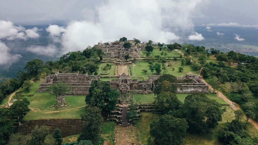 PREAH VIHEAR, Sept. 22, 2019 - Aerial photo taken on Sept. 19, 2019 shows the Preah Vihear Temple in Preah Vihear Province, Cambodia. The Preah Vihear Temple is located on the top of a cliff in the ...