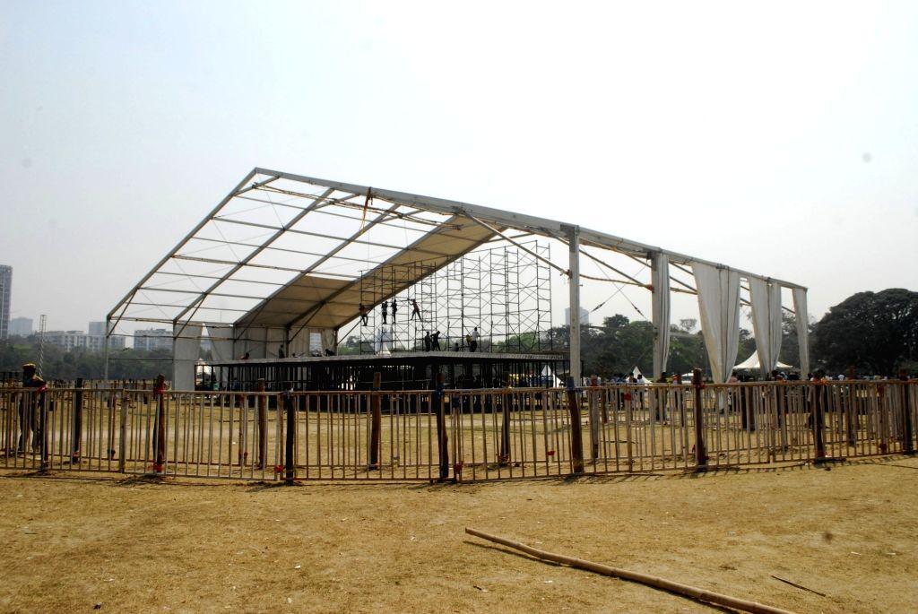 Preparation for Prime Minister Narendra Modi's rally at Brigade Parade Ground in Kolkata on Mar 5, 2021. - Narendra Modi